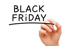 Black Friday. Hand writing Black Friday with black marker on transparent wipe board stock images