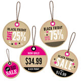 Black Friday handlu detalicznego etykietki Fotografia Stock