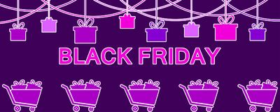 Black Friday. Hanging gift boxes. Celebratory banner with shopping carts. Violet colors. Vector. Illustration Stock Photos
