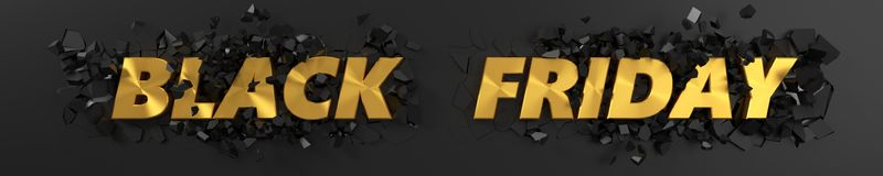 Black friday header with golden text and exploding background. 3d illustration. Royalty Free Stock Photo