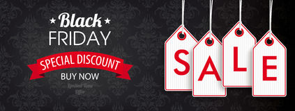 Black Friday Header Ornaments Price Stickers Sale Royalty Free Stock Photography