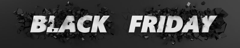 Black friday header with text and exploding background. 3d illustration. Royalty Free Stock Photos