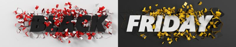 Black friday header with text and exploding background. 3d illustration. Stock Images
