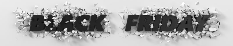 Black friday header with text and exploding background. 3d illustration. Stock Photography