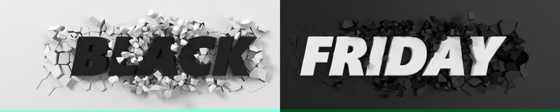 Black friday header with text and exploding background. 3d illustration. Royalty Free Stock Photography
