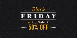 Black Friday-het ontwerpmalplaatje van de verkoopinschrijving Zwarte vrijdagbanner Vector illustratie Stock Afbeeldingen