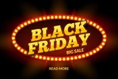 Black Friday-het ontwerpmalplaatje van het VERKOOPkader De zwarte retro banner van de vrijdagkorting met het lichte kader van het Royalty-vrije Stock Foto