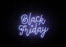 Black Friday-het winkelen ACHTERGROND Lichtgevend lichtblauw tekst van letters voorziend teken Royalty-vrije Stock Fotografie