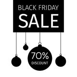 Black Friday holiday banner with hanging Christmas balls Royalty Free Stock Photography