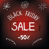 Black friday, holiday sale 50 percent leaflet. Hand lettering Royalty Free Stock Photo