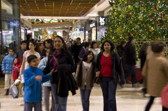 Black Friday Holiday Shopping Mall Christmas tree Royalty Free Stock Photography