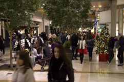 Black Friday Holiday Shopping Mall Christmas tree. Lots of people were shopping on Black Friday Night at Bellevue Square, Seattle, Washington, USA Stock Photos
