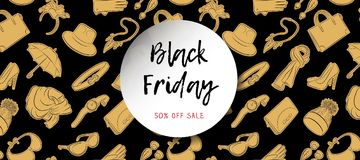 Black Friday horizontal banner. Gold fashion accessories in hand drawn style on a background. Raster illustration.  Stock Photo