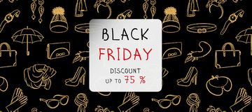 Black Friday horizontal banner. Gold fashion accessories in hand drawn style on a background. Raster illustration. Black Friday horizontal banner. Gold line Stock Photography
