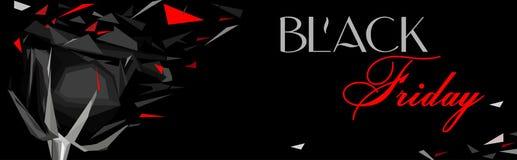 Black Friday horizontal banner with black rose royalty free illustration