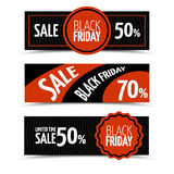 Black friday horizontal vector banners set Stock Images