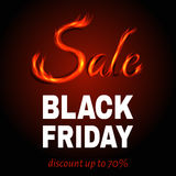 Black Friday hot sale background with sign from fire. Black Friday sale background with sign from fire. Vector illustration Stock Image
