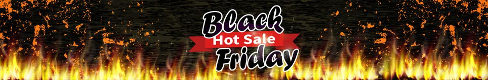 Black friday hot sale. Vector holiday background with burning vector illustration