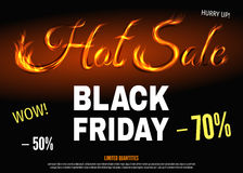 Black Friday hot sale poster template with text from fire. Super discount and special offer banner: 50% and 70% off. Vector illustration background Stock Image