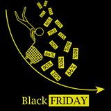 Black friday hot sales concept vector icon logo with falling discounts and black background royalty free illustration