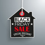 Black Friday House Price Sticker. Price sticker with house shape for the black friday on the gray background Royalty Free Stock Photos