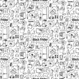 Black Friday household doodle seamless pattern Royalty Free Stock Images