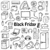 Black Friday household set. Black Friday household appliances hand drawn collection. Pattern of doodle equipment. Coloring page Royalty Free Stock Images