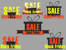 Black Friday icons and labels set. Stickers on sale Black Friday. Design with gift box on sale. Vector Stock Photography