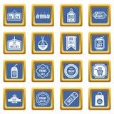 Black Friday icons set blue Royalty Free Stock Images