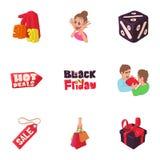 Black friday icons set, cartoon style Royalty Free Stock Photography