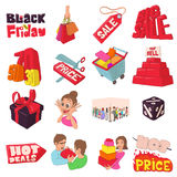 Black Friday icons set, cartoon style. Royalty Free Stock Photography