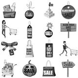 Black Friday icons set, gray monochrome style. Black Friday icons set. Gray monochrome illustration of 16 Black Friday vector icons for web Royalty Free Stock Images