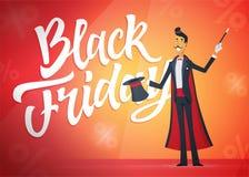 Black Friday - illustrazione dei caratteri della gente del fumetto con il testo di calligrafia Immagine Stock Libera da Diritti