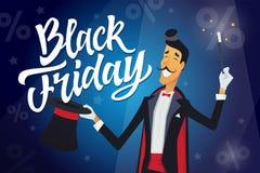 Black Friday - illustrazione dei caratteri della gente del fumetto con il testo di calligrafia Fotografia Stock