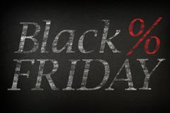 Black Friday. The inscription on a dark background Black Friday and the% sign.  royalty free illustration