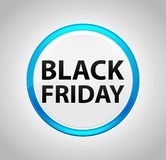 Black Friday Round Blue Push Button royalty free illustration