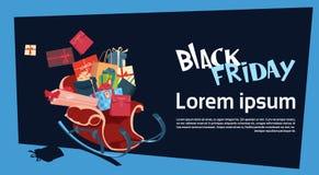 Black Friday jul och för befordranbaner för lyckligt nytt år etikett för rabatt för ferie säsongsbetonad stock illustrationer