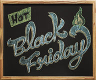 Black Friday kaligrafia nad blackboard Zdjęcia Stock