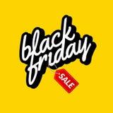 Black Friday Kaligraficznego literowania plakata retro znak Etykietka projekta wektoru szablon Retro sprzedaż rabata sztandar dla Zdjęcie Stock