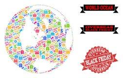 Black Friday kolaż mozaiki mapa Globalny ocean i Drapający znaczek ilustracji