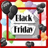 Black Friday-Konzept mit bunten Ballonen und quadratischem rotem Rahmen Stockbild
