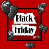Black Friday-Konzept mit schwarzen Ballonen und quadratischem Rahmen Stockfoto