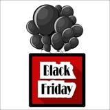 Black Friday-Konzept mit schwarzen Ballonen und quadratischem rotem Tag Stockbild
