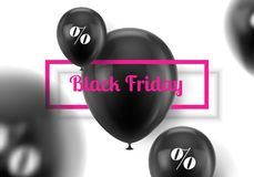Black Friday kort med ballongen stock illustrationer