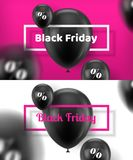 Black Friday kort med ballongen vektor illustrationer