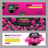 Black Friday kort med ballongen vektor illustrationer