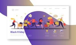 Black Friday lądowania strony szablon Sezonowy Dyskontowy strona internetowa układ z Płaskimi ludźmi charakterów z torba na zakup ilustracji