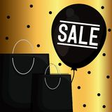 Black friday label with bags shopping and balloon air. Vector illustration design royalty free illustration