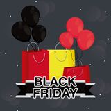 Black friday label with bags shopping and balloons air. Vector illustration design royalty free illustration