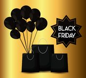 Black friday label with bags shopping and balloons air. Vector illustration design stock illustration